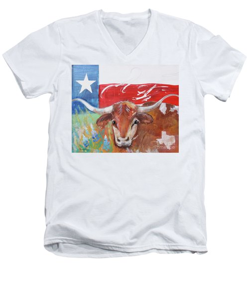Men's V-Neck T-Shirt featuring the painting Texas Longhorn by Robin Maria Pedrero