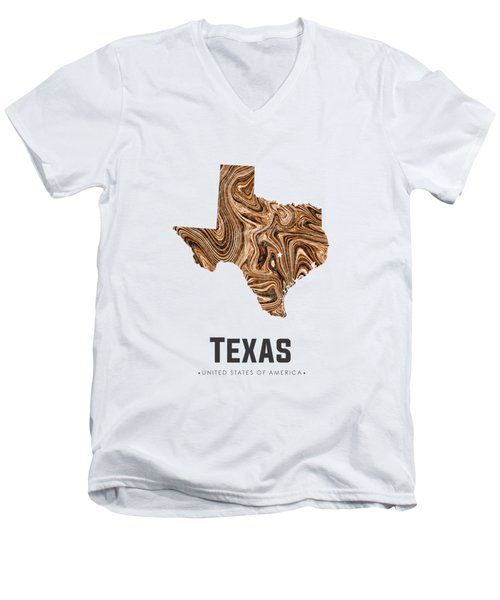Texas Map Art Abstract In Brown Men's V-Neck T-Shirt