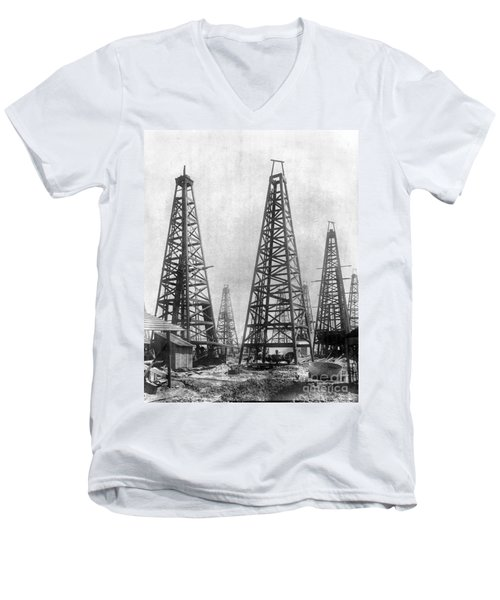 Texas: Oil Derricks, C1901 Men's V-Neck T-Shirt