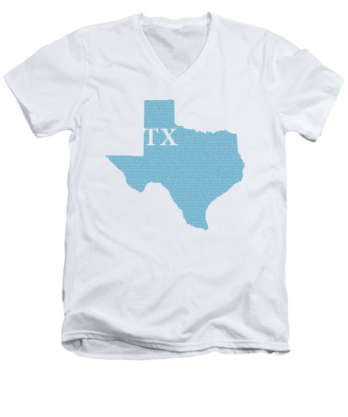 Texas State Map With Text Of Constitution Men's V-Neck T-Shirt