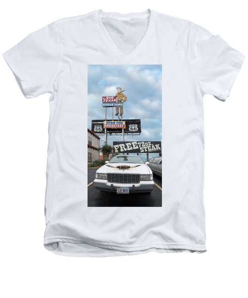 Texas Steak House Kitsch  Men's V-Neck T-Shirt