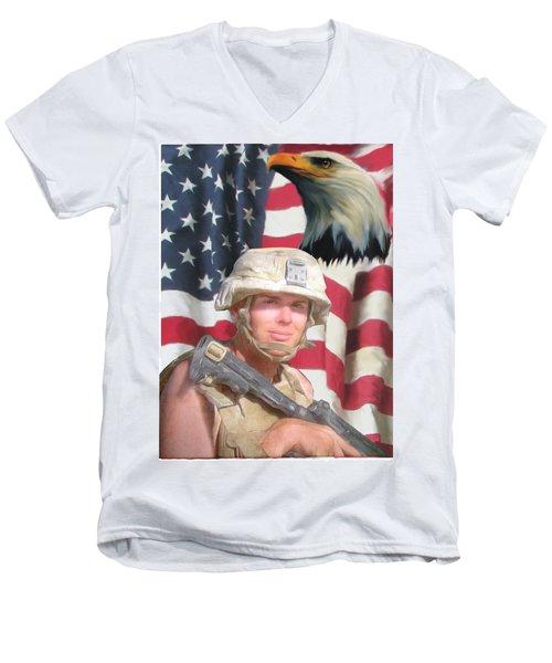 Texas Warrior Men's V-Neck T-Shirt by Ken Pridgeon