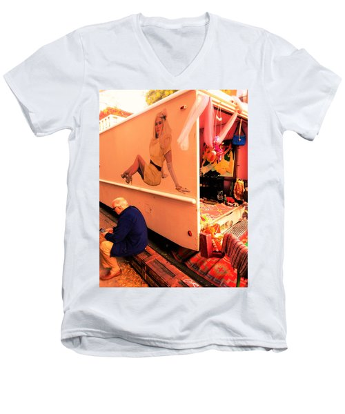Texting Under A Sexy Lady's Watchful Eye  Men's V-Neck T-Shirt by Funkpix Photo Hunter