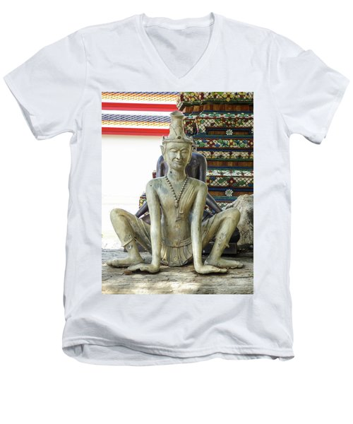 Thai Yoga Statue At Famous Wat Pho Temple Men's V-Neck T-Shirt