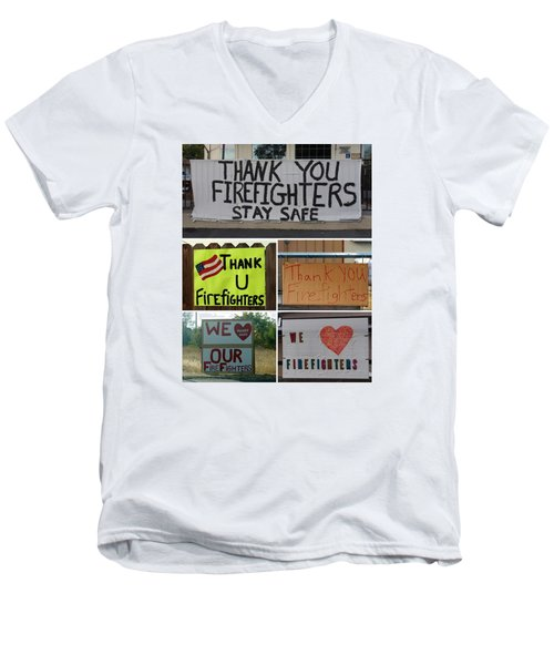 Thank You Firefighters Collage Men's V-Neck T-Shirt by Patricia Strand