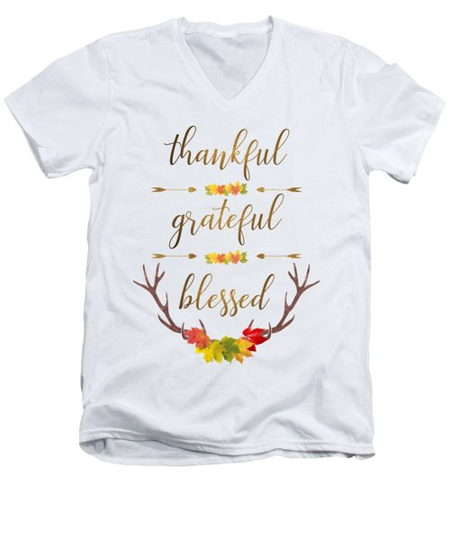Thankful Grateful Blessed Fall Leaves Antlers Men's V-Neck T-Shirt