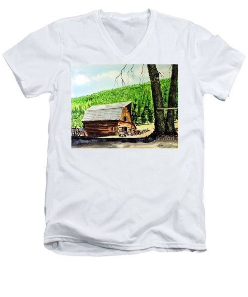 Men's V-Neck T-Shirt featuring the painting That Barn From That Movie by Tom Riggs