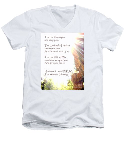 The Aaronic Blessing And True Light Lower Emerald Pools Zion Men's V-Neck T-Shirt