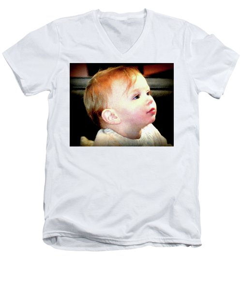 Men's V-Neck T-Shirt featuring the photograph The Age Of Innocence by Barbara Dudley