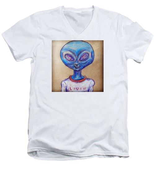The Alien Is L-i-v-i-n Men's V-Neck T-Shirt by Similar Alien