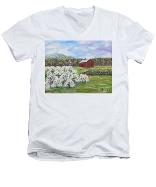 The Apple Farm Men's V-Neck T-Shirt by Stanton Allaben
