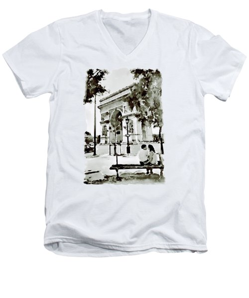 The Arc De Triomphe Paris Black And White Men's V-Neck T-Shirt by Marian Voicu