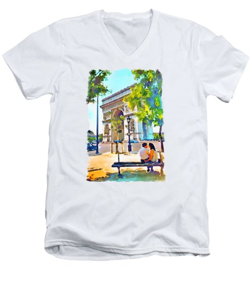 The Arc De Triomphe Paris Men's V-Neck T-Shirt by Marian Voicu