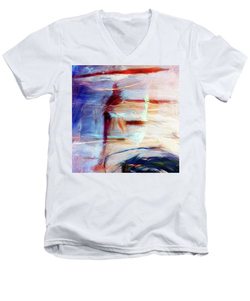 Men's V-Neck T-Shirt featuring the painting The Auberge by Dominic Piperata
