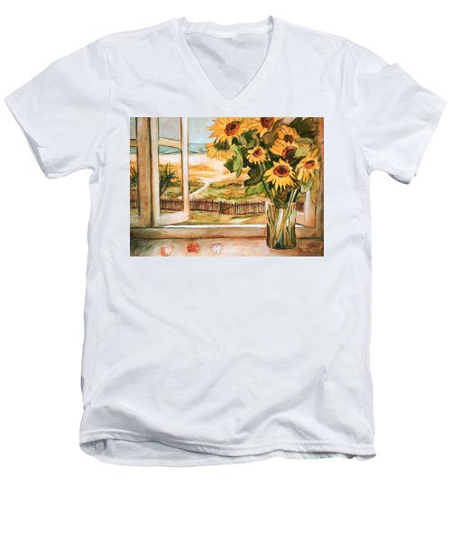 Men's V-Neck T-Shirt featuring the painting The Beach Sunflowers by Winsome Gunning