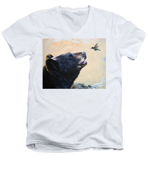 The Bear And The Hummingbird Men's V-Neck T-Shirt by J W Baker