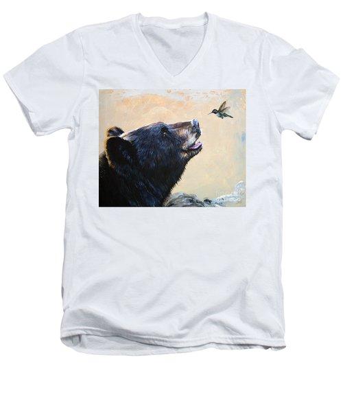 The Bear And The Hummingbird Men's V-Neck T-Shirt