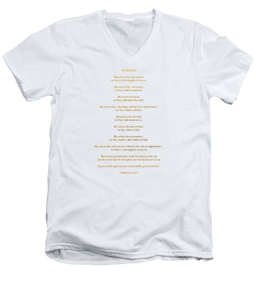 The Beatitudes Gospel Of Matthew Men's V-Neck T-Shirt by Rose Santuci-Sofranko