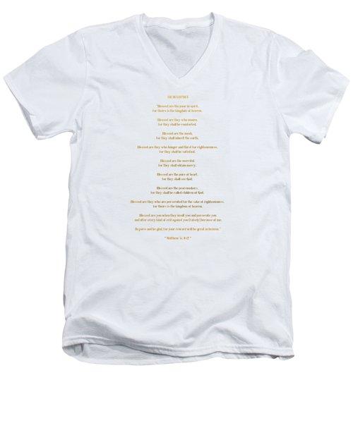 Men's V-Neck T-Shirt featuring the digital art The Beatitudes Gospel Of Matthew by Rose Santuci-Sofranko