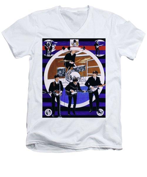 The Beatles - Live On The Ed Sullivan Show Men's V-Neck T-Shirt