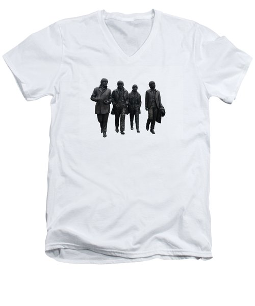 Men's V-Neck T-Shirt featuring the digital art The Beatles On White by Movie Poster Prints