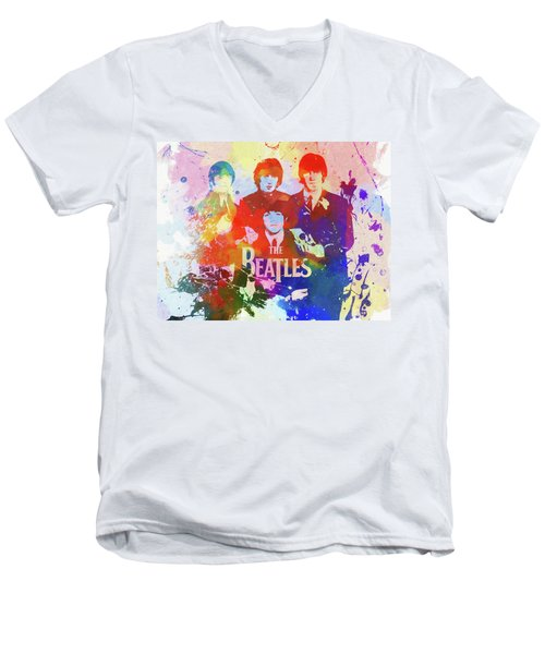 The Beatles Paint Splatter  Men's V-Neck T-Shirt