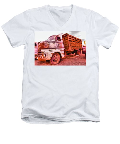 Men's V-Neck T-Shirt featuring the photograph The Beauty Of An Old Truck by Jeff Swan