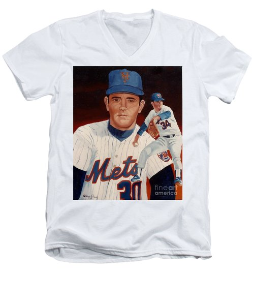 Men's V-Neck T-Shirt featuring the painting From The Mets To The Rangers by Rosario Piazza