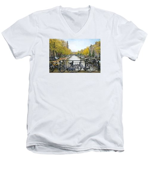The Bicycle City Of Amsterdam Men's V-Neck T-Shirt