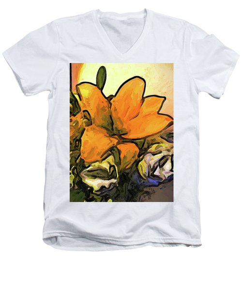 The Big Gold Flower And The White Roses Men's V-Neck T-Shirt