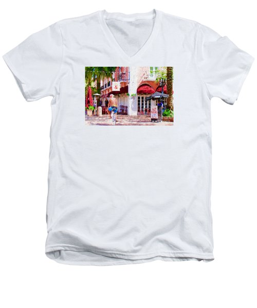 Men's V-Neck T-Shirt featuring the painting The Biker by Judy Kay