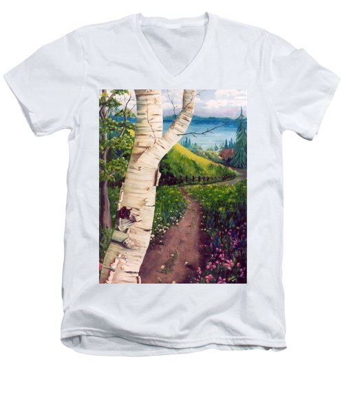Men's V-Neck T-Shirt featuring the painting The Birch by Renate Nadi Wesley