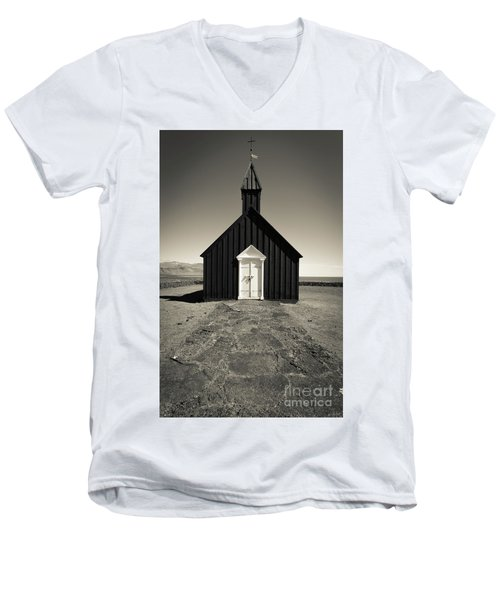 Men's V-Neck T-Shirt featuring the photograph The Black Church by Edward Fielding