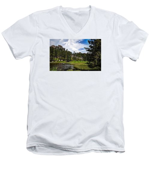 Men's V-Neck T-Shirt featuring the photograph The Black Hills Of Custer State Park by Deborah Klubertanz