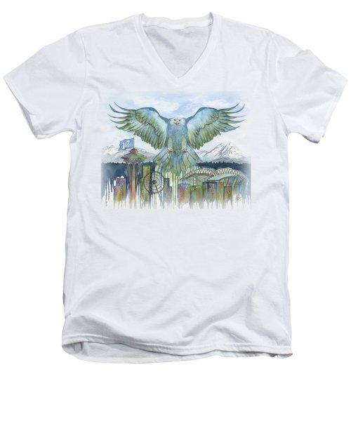 The Blue And Green Men's V-Neck T-Shirt by Julie Senf