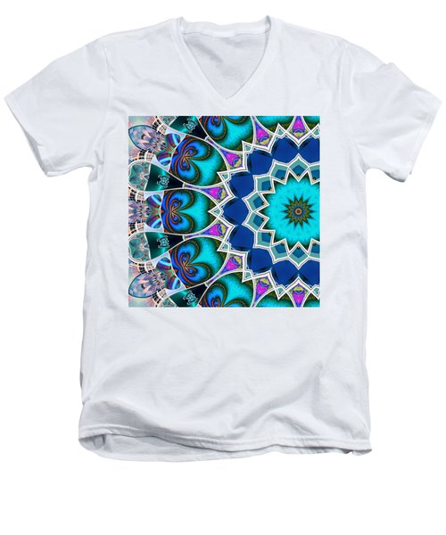 Men's V-Neck T-Shirt featuring the digital art The Blue Collective 01b by Wendy J St Christopher