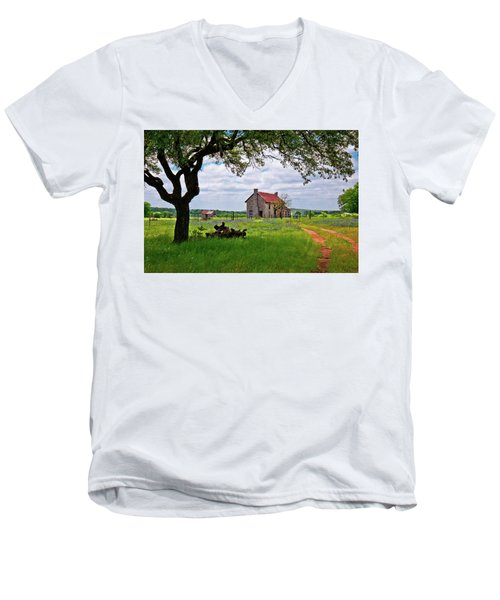 Men's V-Neck T-Shirt featuring the photograph The Bluebonnet House by Linda Unger