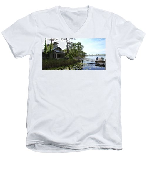 The Boathouse At Watercolor Men's V-Neck T-Shirt by Megan Cohen