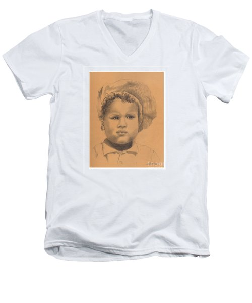 The Boy Who Hated Cheerios -- Portrait Of African-american Child Men's V-Neck T-Shirt