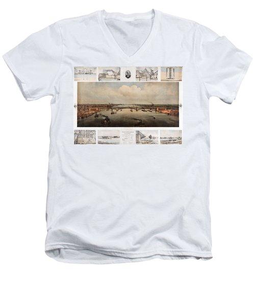 The Bridge At St. Louis, Missouri, Ca. 1874 Men's V-Neck T-Shirt