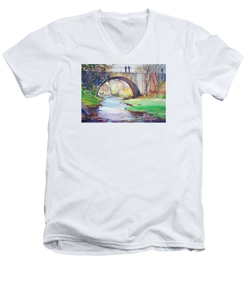 The Bridge Over Brewster Garden Men's V-Neck T-Shirt by P Anthony Visco