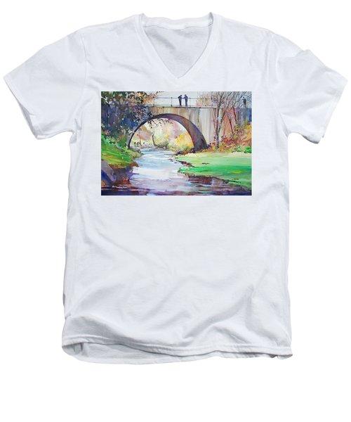 The Bridge Over Brewster Garden Men's V-Neck T-Shirt