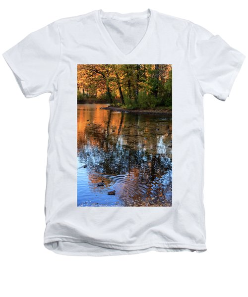 The Bright Colors Of Autumn, Quiet Evenings Are Reflected In The Waters Of The City Pond Men's V-Neck T-Shirt