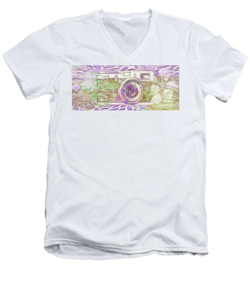 Men's V-Neck T-Shirt featuring the digital art The Camera - 02c6 by Variance Collections