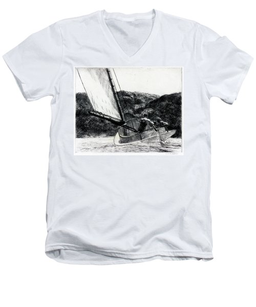 The Cat Boat Men's V-Neck T-Shirt
