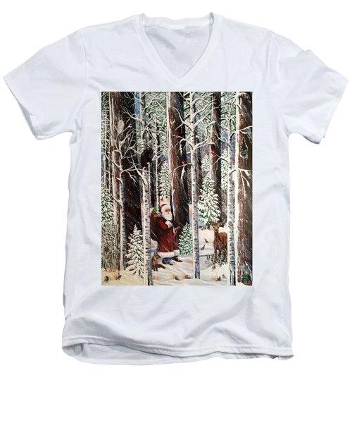 The Christmas Forest Visitor Men's V-Neck T-Shirt by Jennifer Lake