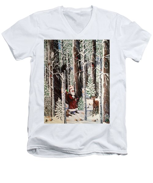The Christmas Forest Visitor Men's V-Neck T-Shirt