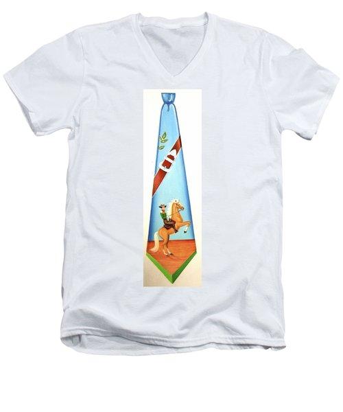The Cowboy Men's V-Neck T-Shirt by Tracy Dennison