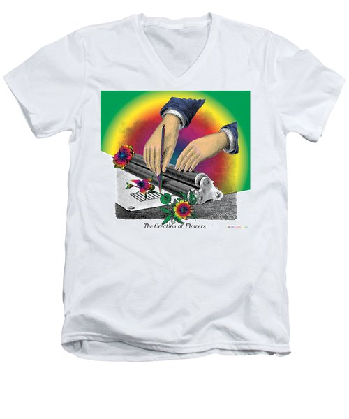 The Creation Of Flowers Men's V-Neck T-Shirt by Eric Edelman