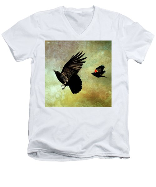 The Crow And The Blackbird Men's V-Neck T-Shirt by Peggy Collins